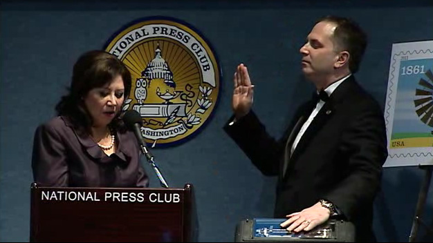 Secretary of Labor Hilda Solis Swears Mark Hamrick Into Office