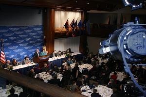 ConocoPhillips CEO James Mulva addresses a luncheon crowd