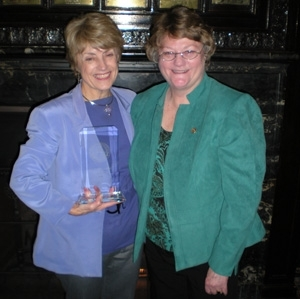Frederica Dunn, co-recipient of the Club's top volunteerism award, with President Sylvia Smith