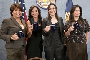 Leslie Sanchez, second from left,: with Janet Murguia, CEO, National Council of La Raza; author Rosalind Wiseman; and Patti Solis Doyle, campaign manager for Hillary Clinton