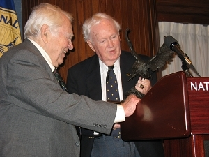 Head Hoot John Cosgrove presents the Order of the Owl to Andy Rooney