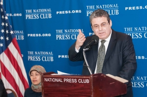 Ufuk Gokcen, Permanent Observer to the United Nations, discusses human rights issues at a National Press Club Newsmaker, December 13, 2011.