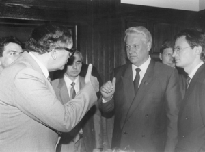 Boris Yeltsin and National Press Club member Paul D'Armiento flash the thumbs-up sign, just before he addressed the Club in June 1991. Yeltsin looks a little unsure about the American thumbs up tradition.