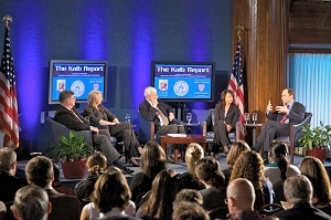 "Marvin Kalb (center) led a talk on the ""business of business writing"" with, from left, Steve Perlstein, Alexis Glick, Diana Henriques, Ali Velshi"