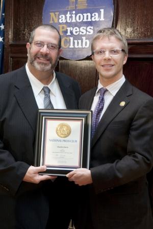 Winner Charles Davis and NPC President Alan Bjerga