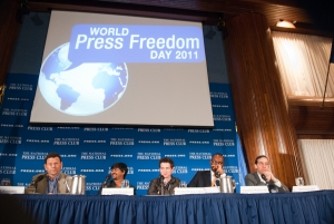 Bob Boorstin, Premesh Chandran, Nicolas Kayser-Bril, Amadou Mahtar Ba (speaking), Richard Tofel speak about new media business models during World Press Freedom Day on May 3.