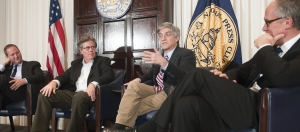 "Michael Isikoff of NBC News, who covered the Monica Lewinski scandal for Newsweek, joins documentary filmmaker Barak Goodman (left)  and fellow journalists David Maraniss of the Washington Post and Michael Samels of PBS (right) to discuss Goodman's biopic, ""Clinton"" on Jan. 12."
