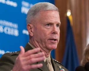Marine Commandant James F. Amos addresses an Aug. 28 National Press Club luncheon.