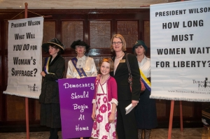 "NPC President Angela Greiling Keane greets ""suffragists"" at Feb. 28 reception"