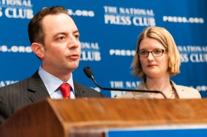 "Republican National Committee Chairman Reince Priebus told a National Press Club audience on March 18 that  that 2012 election was a ""wake-up call"" for his party. He released a 98-page report that evaluates its flaws and outlines a recovery plan. Club  Angela Greiling Keane moderated the event."
