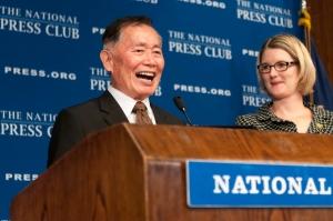 'Star Trek' star George Takei at podium with NPC President Angela Greiling Keane