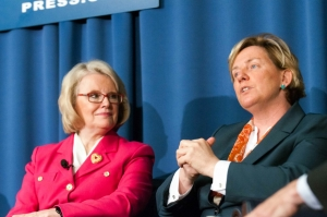 Carolyn Ryan (right) Washington bureau chief for The New York Times participates in a forum on closing the gender gap in journalism with moderator Jill Geisler of Poynter at the National Press Club, June 30, 2014.