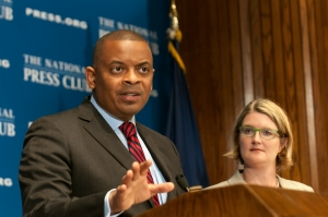 U.S. Transportation Secretary Anthony Foxx speaks at a July 21 National Press Club luncheon.