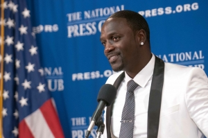 Aliaune Damala Bouga Time Bongo Puru Nacka Lu Lu Lu Badara Akon Thiam, known as Akon speaks at the National Press Club, August 7, 2014.  The internationally recognized recording artist and producer discussed his interest in electrifying Africa.