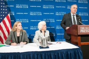 Moderator Jamie  Horwitz, of NPC's Newsmaker Committee, introduces Judges Denise Noonan Slavin (left) and Dana Leigh Marks at Newsmaker