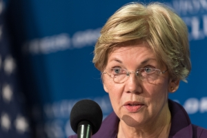 U.S. Sen. Elizabeth Warren said Wednesday that she was was concerned about former U.S. Secretary of State Hillary Clinton's ties to Wall Street.