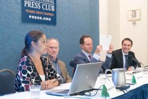 Campaign finance reporters discuss covering secret money at Club program.