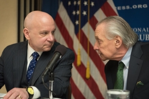 Stan Collender, executive vice president of Qorvis MSLGROUP (left) speaks with Jim Dyer, principal at the Podesta Group before a National Press Club Newsmaker on the federal budget, March 17, 2017.