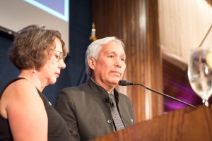 Emilio Gutierrez speaks after receiving the National Press Club's John Aubuchon Freedom of the Press Award in October 2017.
