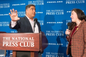 Cenk Uygur, founder of The Young Turks, talks with National Press Club President Andrea Edney.