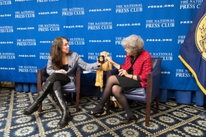 Animal puppet Ned joined National Press Club Vice President Alison Fitzgerald Kodjak (l) and author and psychosocial counselor discuss how families cope with severely ill children at a Nov. 13 Club Headliners Book Event.