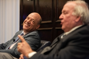 Former White House press secretaries Ari Fleischer (left) and Mike McCurry speak during NPC Journalism Institute's 'Dialog in Democracy' event.
