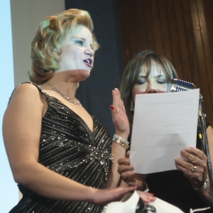 Theresa Werner is sworn into office as the 105th President of the National Press Club by NBC4 anchor Barbara Harrison at the NPC Presidential Inaugural Gala, January 28, 2012.