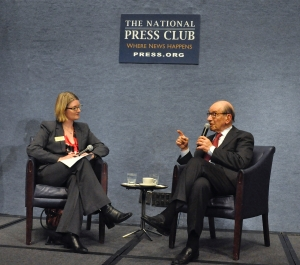 Club President Angela Greiling Keane interviews former Federal Reserve Chairman Alan Greenspan.