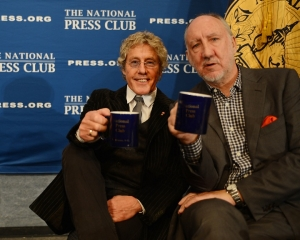 The Who legends Roger Daltrey (left) and Pete Townshend mug with their NPC mugs