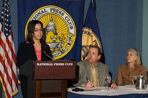 Cara Welch, left, of WorldatWork and Lynn Dudley, right, of American Benefits Council with Newsmaker Chairman Mark Schoeff