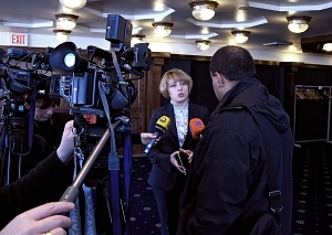 Eka Tkeshelashvili, national security advisor to the president of Georgia, after a Newsmaker event.