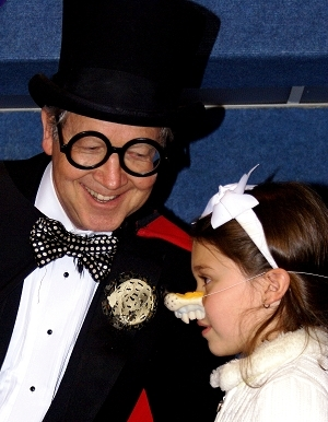 Turley the Magician was all smiles while entertaining children and adults