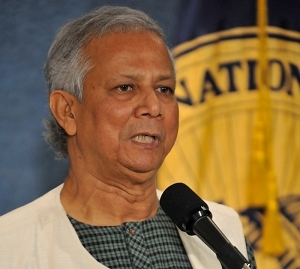 Nobel Laureate Muhammad Yunus speaks Wednesday at the National Press Club about the success of his Grameen Bank.