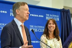 National Press Club President Alison Fitzgerald Kodjak moderated a Club Newsmaker featuring former Colorado Gov. John Hickenlooper.