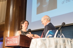 Supreme Court Justice Stephen Breyer administered the oath of office to new National Press Club President Alison Fitzgerald Kodjak at an inaugural gala dinner Saturday.