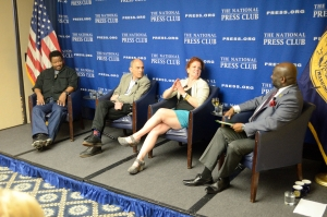 """A National Press Club Book Rap on May 1 about """"Anatomy of Innocence"""" featured (from left): Jerry Miller, who was exonerated after a wrongful conviction; John Mankiewicz, who wrote the chapter about Miller; Laura Caldwell, the book's editor; and National Press Club President Jeff Ballou, who moderated the discussion."""