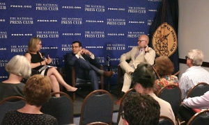 """Former National Press Club President Angela Greiling Keane moderates a panel with author Alexander Nazaryan (center) and Republican political consultant Rick Wilson at a Club Headliners book event on June 27. Nazaryan's book, """"The Best People: Trump's Cabinet and the Siege on Washington,"""" is a critical analysis of Trump's controversial two years in office with its scandals and embarrassments."""