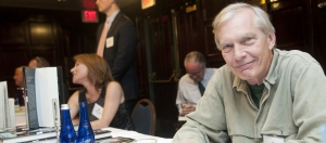 Radio celebrity and author Bob Edwards mans his table at the National Press Club Book Fair