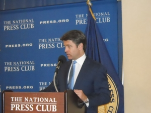 Brad Thor speaks about writing at a National Press Club Book Rap on July 9, 2014