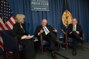Barbara Cochran, chairman of the National Press Club's National Journalism Institute, interviews former Vice President Dick Cheney and his cardiologist and co-author, Jonathan Reiner discuss their book, Heart, at a National Press Club Book Rap, Dec. 3, 2013.