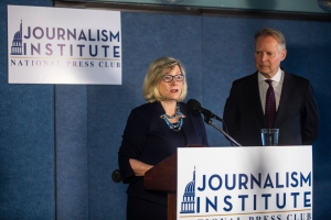 National Press Club Journalism Institute President Barbara Cochran and former U.S. Rep. David Dreier announce formation of a foundation to create a memorial to fallen journalists on June 26.
