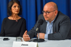 Panelists Diane Foley, president and founder of the James W. Foley Foundation, and Washington Post journalist Ja n Rezaian, discuss crimes against Americans abroad at the National Press Club on April 2.