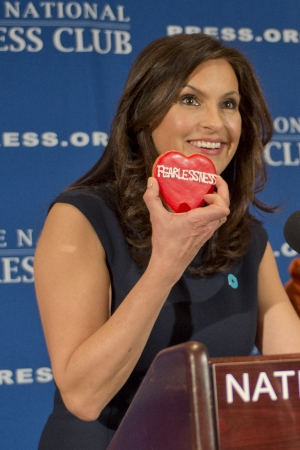 "Actress Mariska Hargitay promoted her ""No More"" initiative to help victims of domestic violence and sexual assault at a March 13 National Press Club luncheon."