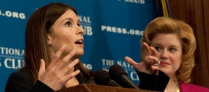 NASCAR Driver Danica Patrick, foreground, and NPC President Theresa Werner