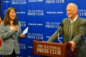 National Press Club president Alison Kodjak and Earth Day organizer Denis Hayes react to an audience question.