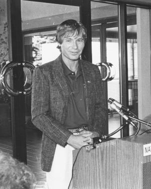 Singer, song-writer and activist John Denver discusses world hunger and environmental issues at a National Press Club Newsmaker event, Aug. 12, 1981.