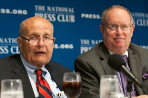In a farewell address, Rep. John Dingell (l), D-Mich., told a National Press Club audience of time when Washington worked. Club President Myron Belkind (r) moderated the Q&A.