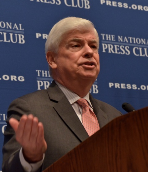 Former Sen. Christopher Dodd, D-Conn., chairman and chief executive officer of the Motion Picture Association of Amerca, speaks at a NPC Luncheon, Feb. 15, 2013