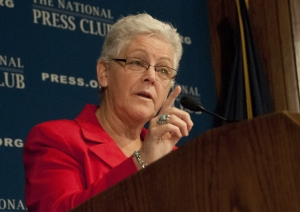 Gina McCarthy, administrator of the Environmental Protection Agency, describes the Obama administration's latest policy proposals on combating climate change at a National Press Club breakfast, Sept. 20, 2013