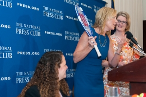 Tennis great Chris Evert spoke at a National Press Club Luncheon, May 7, 2013.  Ms. Evert signed many items for members and guests including this tennis racket to be auctioned at the Club's Folurth Estate Awards Dinner.